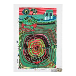 """""""La Barca Regentag"""" Numbered Silkscreen Print by Friedensreich Hundertwasser For Sale"""