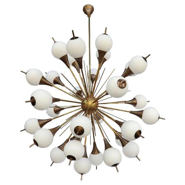 1960s Italian Brass Sputnik Chandelier With White Balls For Sale