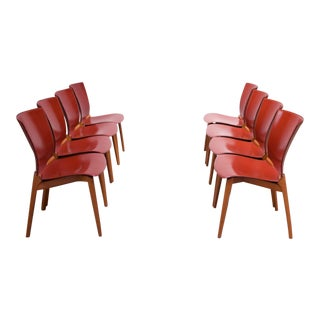Set of Eight Josep Llusca 'Cos' Chairs for Cassina in Red Leather and Beechwood For Sale