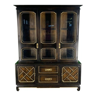 Asian Chinoiserie China Cabinet by American of Martinsville For Sale