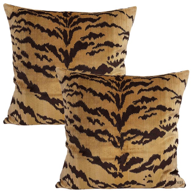 Contemporary Nobilis of Paris From the Salambo Collection, Velvet Tiger Down Feather Accent Pillows - Set of 2 For Sale - Image 3 of 4