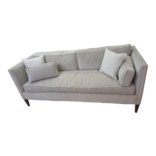 Wesley Hall Grey Nailheads and Leather Piping Sofa For Sale