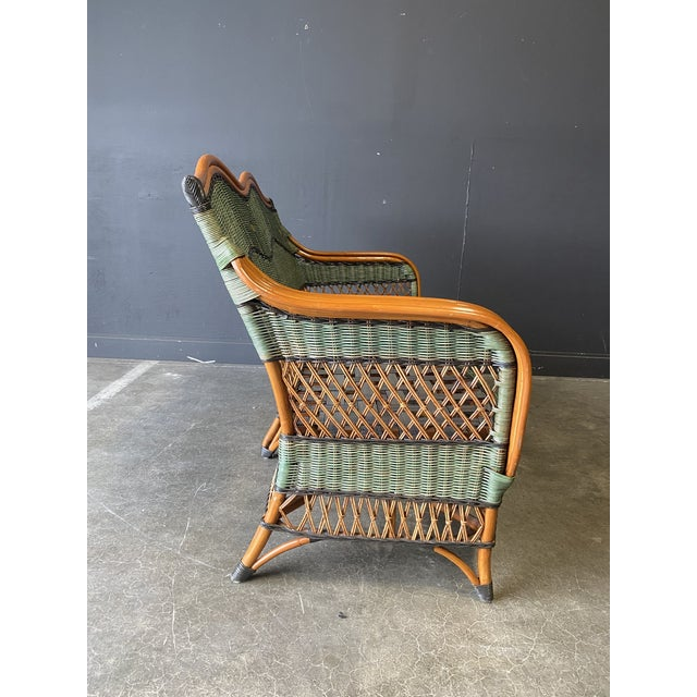 Asparagus Vintage French Grange Wicker Sofa and Coffee Table For Sale - Image 8 of 13