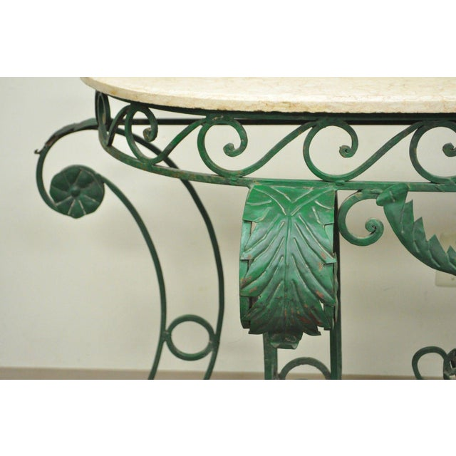 "65"" W Ornate Italian Regency Style Green Wrought Iron Marble Top Console Table - Image 10 of 11"