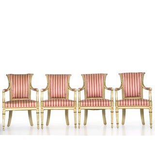Set of Four Neoclassical White-Painted French Accent Arm Chairs, 19th Century Preview