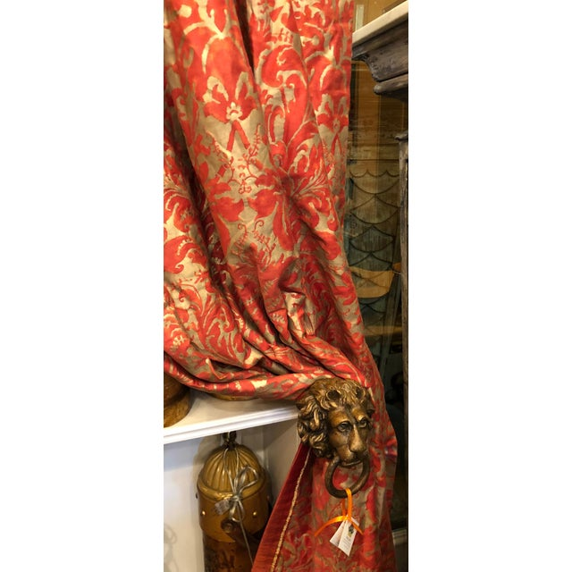Pair of Genuine Fortuny Gold & Orange-Red Curtains Drapes W Silk Verso For Sale In Los Angeles - Image 6 of 8