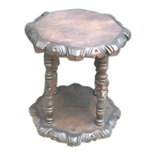 Antique Hand-Carved Folk Art Side Table For Sale
