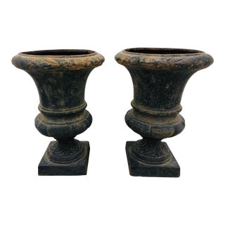 Pair Petite Antique Iron Urns For Sale