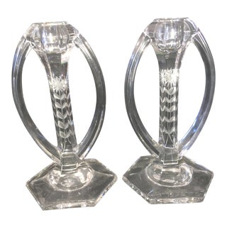 Art Deco Etched Glass Candle Stick Holders - A Pair