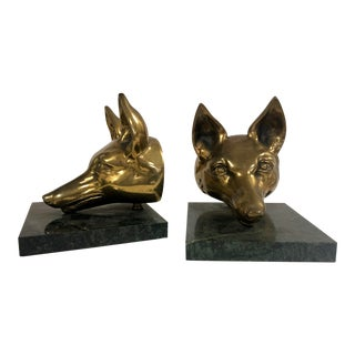 Large Virginia Metalcrafters Brass Fox Bookends For Sale