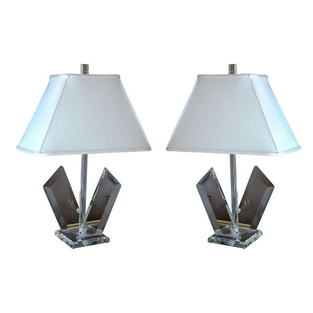 Van Teal Sculptural Lucite Lamps - A Pair - Image 1 of 7