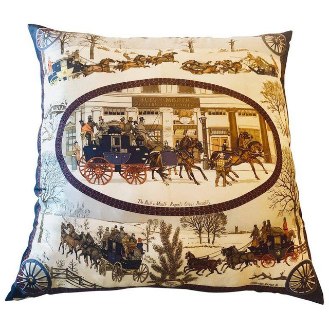Hollywood Regency Style Hermes 'The Bull and Mouth Regents Circus' Silk Pillow For Sale - Image 11 of 12