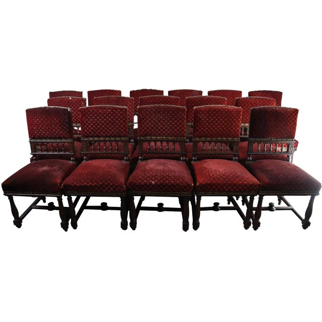 Dining Chairs Antique French Renaissance Set 16 For Sale