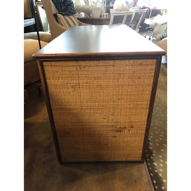 Boho Chic 1990s Boho Chic Rattan Partner Desk For Sale - Image 3 of 8