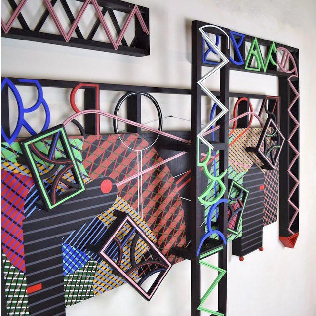 """1991 Contemporary Geometric Polychrome Wood Canvas Wall Sculpture, """"Latticed Planes Two"""" For Sale - Image 4 of 6"""