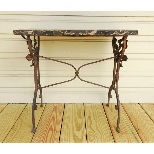 Art Deco Art Deco Iron Marble Top Hand Forged Side Table For Sale - Image 3 of 8