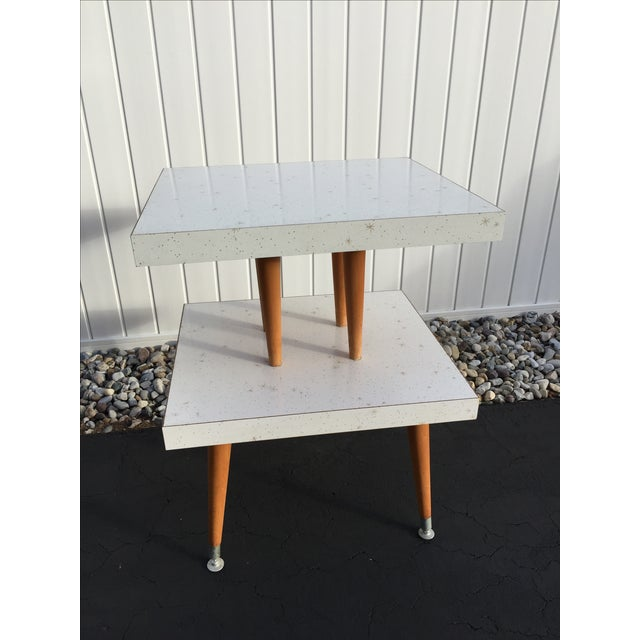 Mid-Century Two-Tier Formica Starburst Side Table - Image 3 of 8