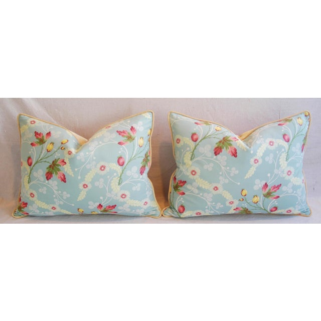 Powder Blue Scalamandré Floral Brocade Pillows - A Pair - Image 7 of 11