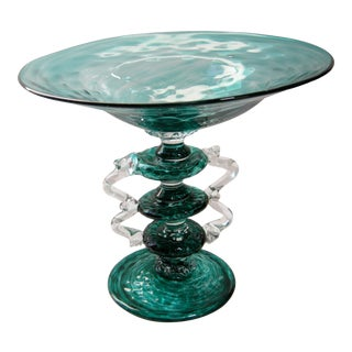 Vintage Hand Blown Venetian Pedestal Quilted Teal Compote For Sale