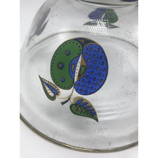Metal 1960s Vintage Mid Century Georges Briard Gold Rimmed Glass Bowl With Fruit For Sale - Image 7 of 11