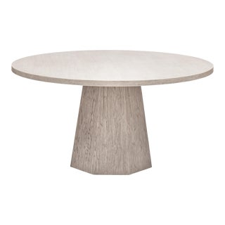 Kaia Round Dining Table, Putty Grey For Sale