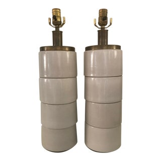 Stacked Stoneware Table Lamps - a Pair For Sale
