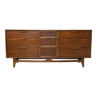 Vintage Nine Drawer Mid Century Lane Perception Long Dresser For Sale