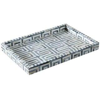 Geometric Gray & Ivory Bone Tray For Sale