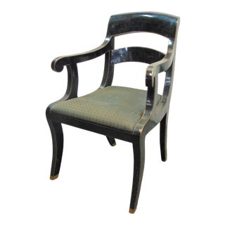 Maitland Smith Regency Style Tessellated Marble Arm Chair For Sale