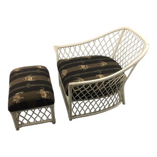 Vintage Ficks Reed Rattan Club Chair and Ottoman
