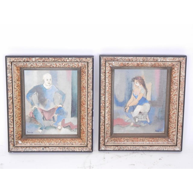 1950s 1950's Vintage Contemporary Paintings by Steven- A Pair For Sale - Image 5 of 5