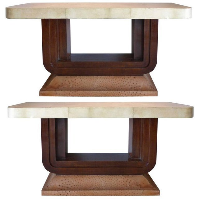 Art Deco Goatskin and Ostrich Skin Clad Console Tables, Pair For Sale - Image 11 of 11