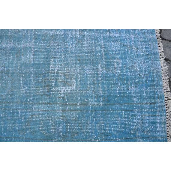 Turkish Oushak Blue Overdye Rug - 5′6″ × 7′10″ - Image 4 of 5