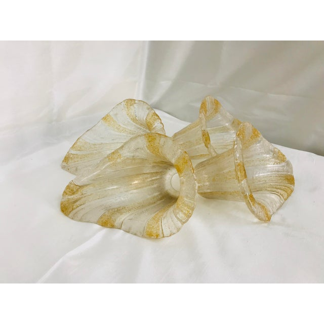 Unique textured art glass vintage shades in a golden peach, white and transparent colors. 4 piece set.