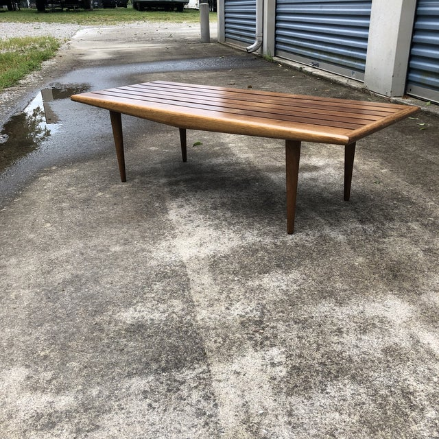 Mid-Century Modern Slatted Wood Coffee Table with Tapered ...