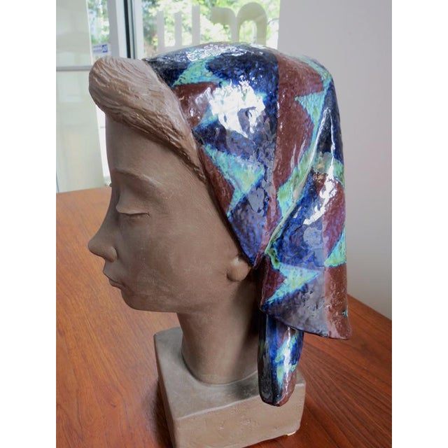 Ceramic Girl With Scarf Vintage Danish Modern Sculpture For Sale - Image 7 of 8