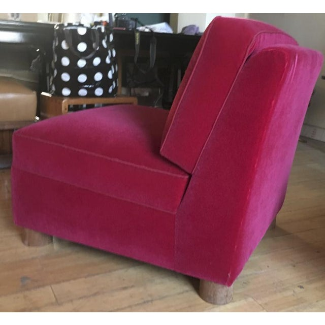 Bauhaus Jean Royere Pair of Slipper Chairs Covered in Red Mohair Velvet For Sale - Image 3 of 8