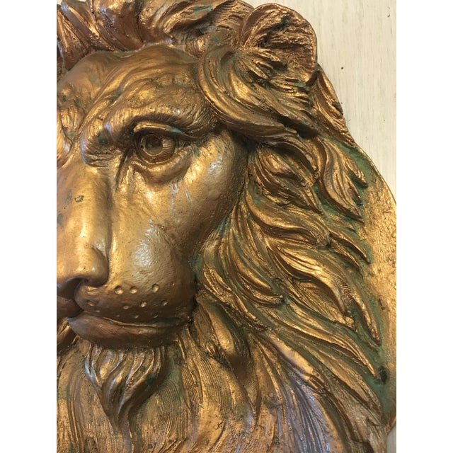Lion Head Wall Sculpture For Sale - Image 6 of 7
