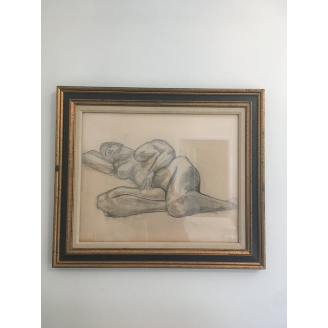 Vintage Large Mid Century Art Deco Abstract Drawing Pencil Laying Woman Figure Nude Amazing Vintage Find Wonderful Vintage...