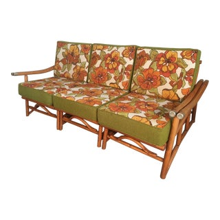 Vintage Ficks Reed Bamboo Sectional Sofa For Sale
