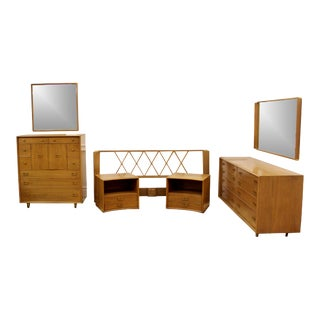 Mid-Century Modern Paul Frankl Satin Birch Emissary Complete Bedroom Set