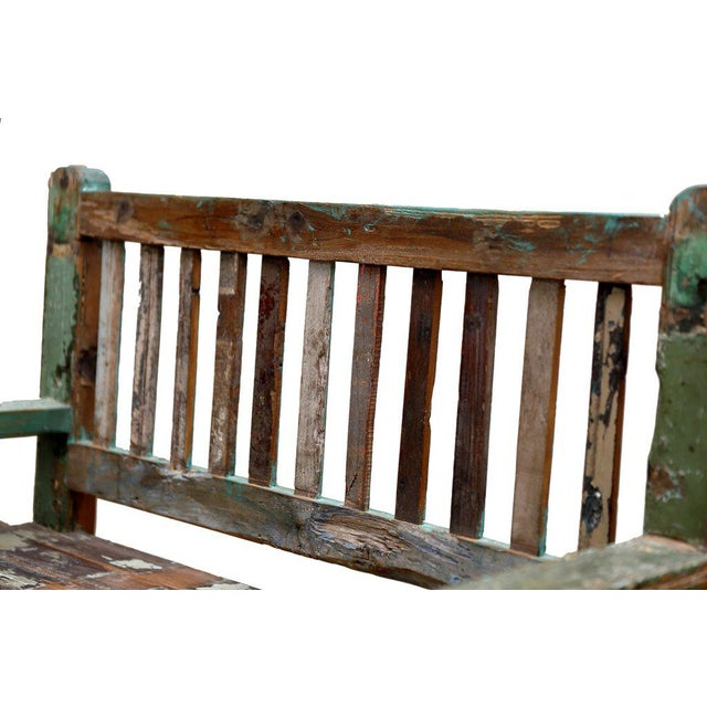 Anglo-Indian Reclaimed Teak Petite Painted Bench For Sale - Image 3 of 5
