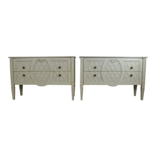 Pair of Large Painted Dressers / Chest of Drawers by Heritage Drexel For Sale