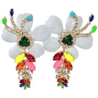 Shourouk Multi-Color Floral Pierced Earrings For Sale