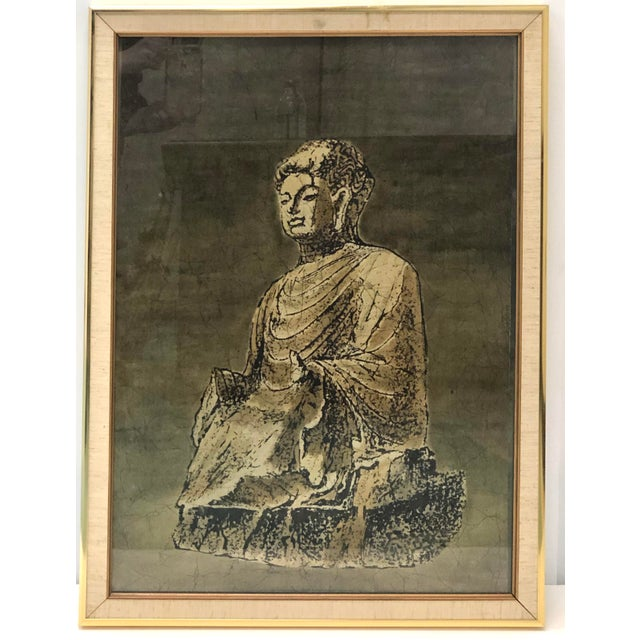 Figurative Batik Painting of a Buddha Figure For Sale - Image 3 of 3