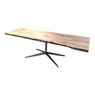 Organic Modern Live Edge Silver Maple Table For Sale