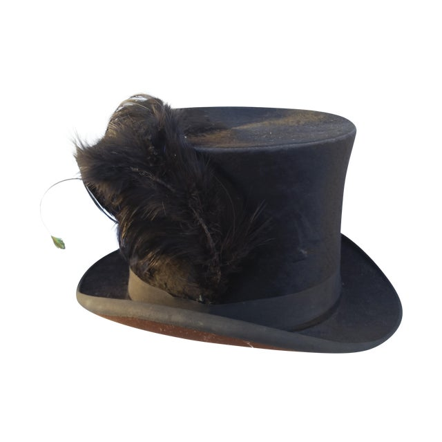 Victorian Beaver Top Hat With Feather - Image 1 of 5
