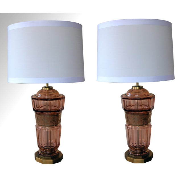 A good pair of Bohemian art deco aubergine glass decagonal lamps with classical frieze; by Moser Glassworks; each robust...
