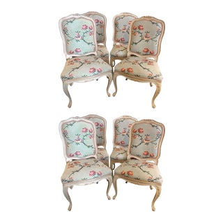 Suite of Eight Louis XV Style Polychrome Chairs, Made in Italy For Sale