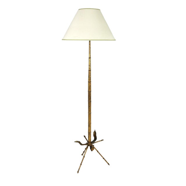 Mid Century Gilded Tole Bamboo Form Tripod Floor Lamp For Sale